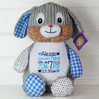 Personalised New Baby Harlequin Rabbit Soft Toy, Purple/Fuchsia/Light Pink