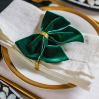 Duo Of Forest Green Napkin Bows