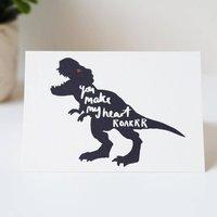 Make My Heart Roar Dinosaur Valentines Card