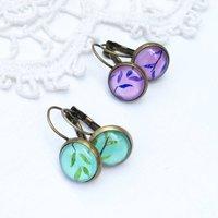 Vintage Style Leaf Earrings, Purple/Green