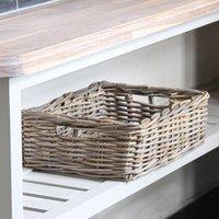 Grey Rattan Shallow Storage Basket