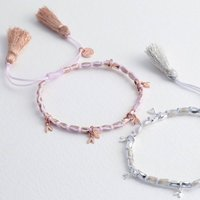 Beaded Heart Charms Friendship Bracelet