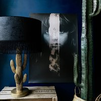 Croc Print Velvet Shade With Black Lining And Fringing