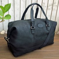 Black Leather Gym Bag, Holdall