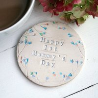 Floral First Mummy's Day Ceramic Coaster