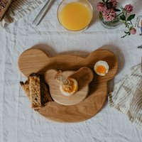 Wooden Bear Breakfast Board And Egg Cup Set