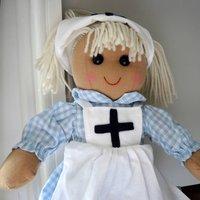Personalised Nurse Rag Doll, Red/Navy