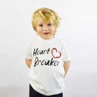 'Heart Breaker' Brush Print Kid's Valentine T Shirt, White/Black/Grey
