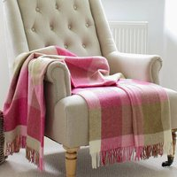 Raspberry Pink Check Wool Throw