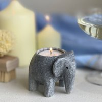 Two Elephant Marble T Light Holders