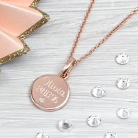 Rose Gold And Genuine Diamond Personalised Pendant, Gold