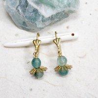 Teal Green Jade Lever Back Earrings