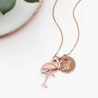 Personalised 18ct Rose Gold Flamingo Necklace, Gold