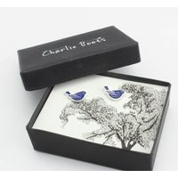 Blue Bird Enamel Earrings