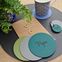 Round Personalised Leather Coaster