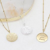 Personalised 18ct Gold Or Silver Compass Coin Necklace, Silver
