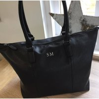 Personalised Handbag, Black/Tan/Grey