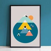 Scandinavian Kids Mountains And Sun Art Print