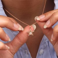 Personalised 18ct Rose Gold Birthstone Star Necklace, Gold