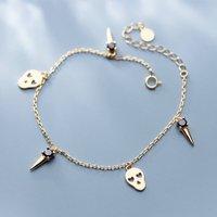Gold Skull Charm Bracelet, Gold