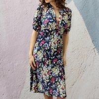 Navy Floral Print Crepe Tea Dress