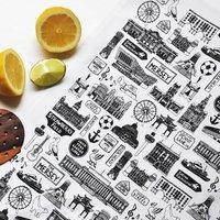Liverpool Illustrated Black And White Tea Towel