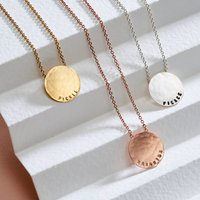 Personalised Medium Hammered Disc Necklace