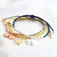 Personalised Charms Cord And Bead Friendship Bracelet