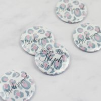Pink Leopard Print Personalised Hen Party Badges