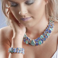 Aquamarine And Tanzanite Designer Necklace Bracelet Set