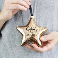 Baby First Christmas Glass Star Bauble Tree Decoration