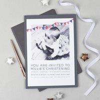 Personalised Photo Christening Invitations, Pink/Orange/Aqua