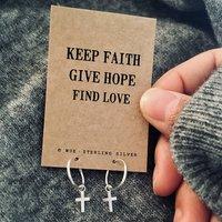 Faith, Hope, Love Silver Cross Hoop Earrings, Silver