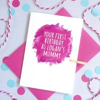 Personalised Watercolour 1st Birthday As Parents Card, Turquoise/Red/Pink