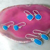 Silver December Birthstone Turquoise Drop Earrings, Silver