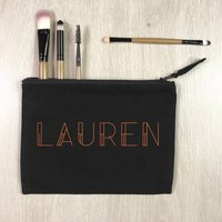 Personalised Art Deco Copper And Black Make Up Bag
