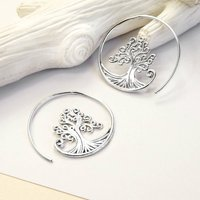 Sterling Silver Tree Hoop Earrings, Silver