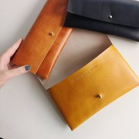 Hidden Message Personalised Leather Clutch Bag
