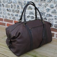 Personalised Supersize Leather Holdall, Brown/Black