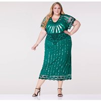 Plus Size Angel Sleeve Teal Maxi Hand Embellished