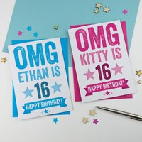 Personalised 16th Birthday Card, Blue/Pink