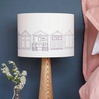 Beach Hut Drum Lampshade, Grey/White/Teal