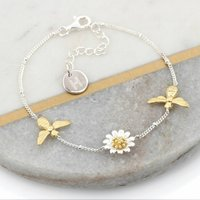 Sterling Silver And Gold Bee And Daisy Bracelet, Silver