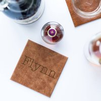 Name Leather Coaster