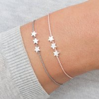 Personalised Silver Triple Star Silk Wish Bracelet, Silver