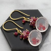 Rose Quartz, Ruby Spinel Gold Earrings, Gold