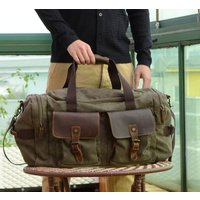 Canvas And Leather Military Style Holdall Bag, Green/Grey