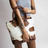 Brown And White Pony Hair Florence Tote Handbag