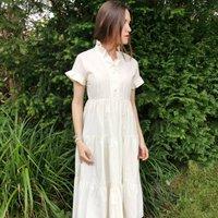 Alexandra Cream Cotton Maxi Dress