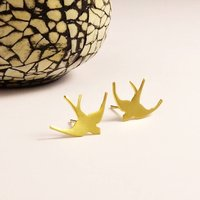 Gold Swallow Stud Earrings, Gold
